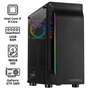 REBELPLAY® Gaming PC - Core i7 - GTX 1660 - 16GB RAM - 480GB SSD - RGB - WiFi